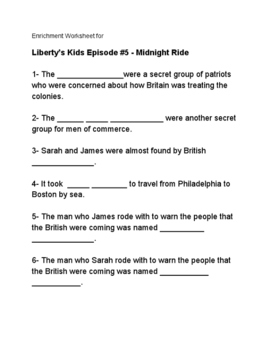 Liberty's Kids Enrichment Worksheet for #5 Midnight Ride