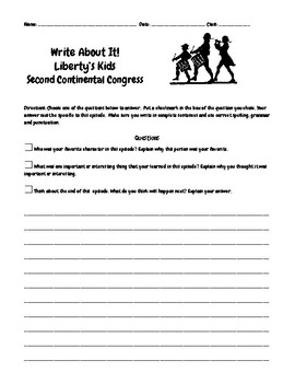 Liberty's Kids Ep. 8 2nd Continental Congress Questions w/Write/Draw Assignment