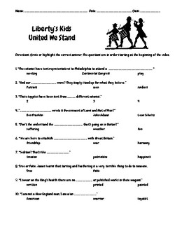 Liberty's Kids Episode 3 United We Stand Questions w/Writing-Drawing Assignment