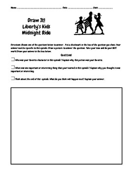 Liberty's Kids Episode 5 Midnight Ride Questions w/Writing-Drawing Assignment