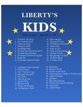 Liberty's Kids Movie Guides - Episodes 1 - 40 (American Revolutionary War)