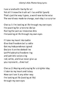 Liberty's Kids Theme Song Lyrics during the American Revolution