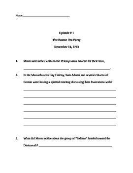 Liberty's Kids Episode #1: worksheet with critical thinking and research