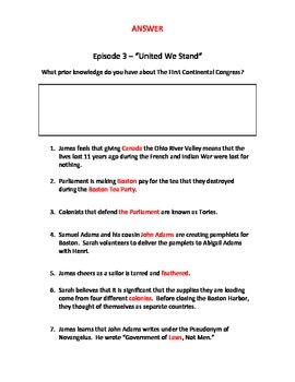 "Liberty's Kids Episode 3 Viewing Guide for ""United We Stand"""