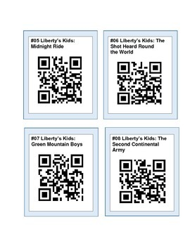 Liberty's Kids Link Cards with QR Codes (Social Studies Common Core)