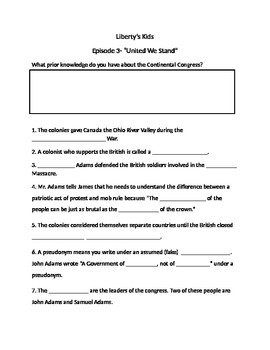 Liberty Kids: United We Stand Worksheet/ Movie Guide | Worksheets ...