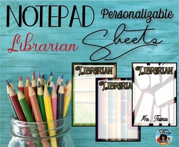 """Librarian"" Notepad Sheets Set {Editable}"