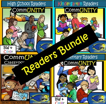 Librarian's Dream Clip-Art Bundle: 120 + pc. Clip-Art Set! BW & Color