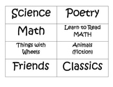 Library Basket Labels for Classroom