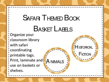 Library Basket Safari Themed Labels.