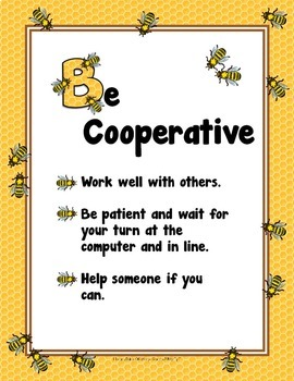 Library 'Bee' Posters for Good School Library/Media Center Behavior *FREE*