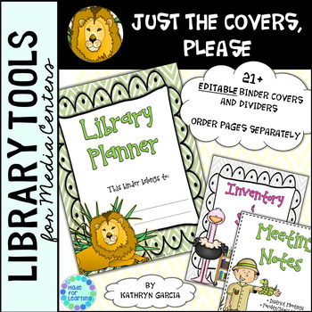Library Planner Binders COVERS ONLY Editable Jungle Theme