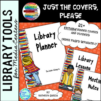 Library Binder/Planner COVERS ONLY: Editable Books Theme