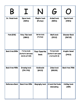 Library Bingo - Becoming Familiar with the Library