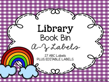 Library Book Bin A-Z Labels {White Series}