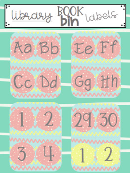 Library Book Bin Labels (Alphabet & Numbers 1-30)