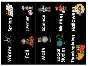 Library Book Bin Labels {Black Series}