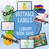 Library Book Bin Labels-Cacti, Flamingo, and/or Pineapple (EDITABLE, 4 X 6)