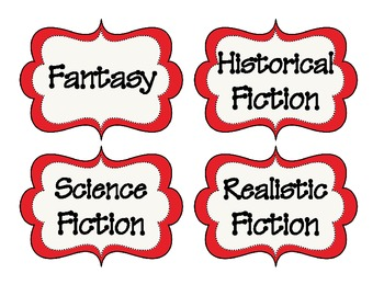 Library Book Bin Labels - Red Frame