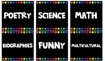 Library Book Bin Labels - black rainbow chalkboard theme