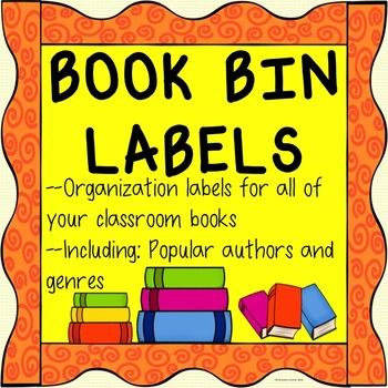 Classroom Library Book Bin Labels Reading Center Corner Organization