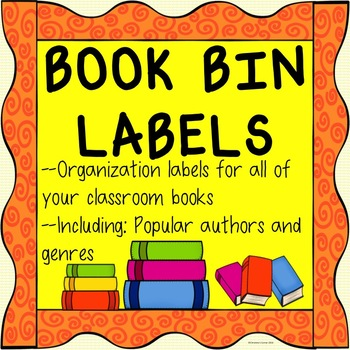 Library/Book Bin Labels for Reading Centers! Bright and Engaging!