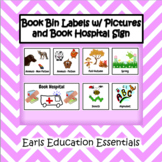 Library Book Bin Labels w/ Pictures and Book Hospital Sign