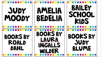 Library Book Bin Labels - white rainbow theme