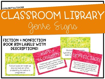 Library/Book Bin Signs by Genre with Definitions