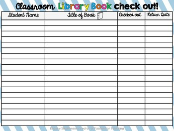 Library Book Check Out Log