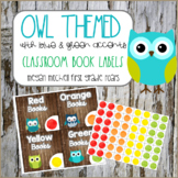Owl Theme Classroom Library Book Labels with Wood, Blue, and Green