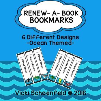 Library Book Renewal Bookmark Ocean Theme