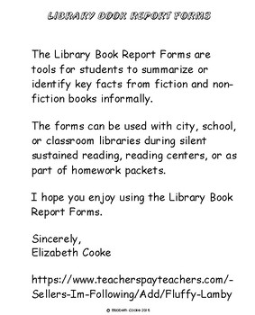 Library Book Report Forms