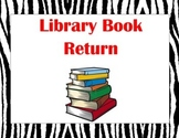 Zebra Library Book Return Label
