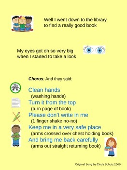 Library Book Care Song (activities and bookmark)