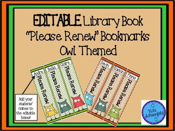 Library Book Renewal Bookmark Editable Owl Themed