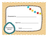 Bookworm Award Certificate End of Year for Library or Classroom