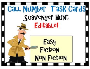 Call Number Scavenger Hunt Task Cards for Library *Editable!!