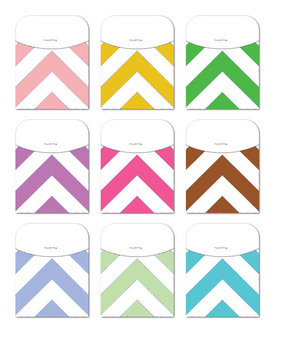 Library Card Pockets - Assorted Colors and Sizes