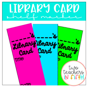 Library Card Shelf Markers