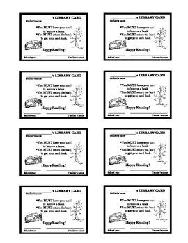 Classroom Library Cards - Freebie!!
