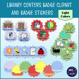 Library Centers Badges Clipart and Printable Stickers {LIGHT Colors}