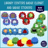 Library Centers Badges Clipart and Printable Stickers {BOLD Colors}