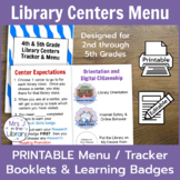 Library Centers Badges & Tracking Booklets + FREE Teacher Checklist