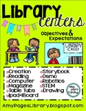 Library Centers Posters with Objectives & Expectations
