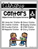 Library Centers Signage with Expectations & Objectives