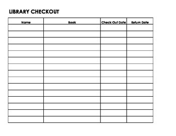 Library Check-Out Sheet