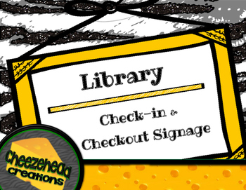 Editable Library Check-in & Checkout Computer Signage with