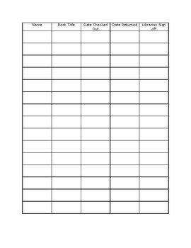 Library Checkout Sheet