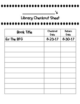 Library Checkout Sheets